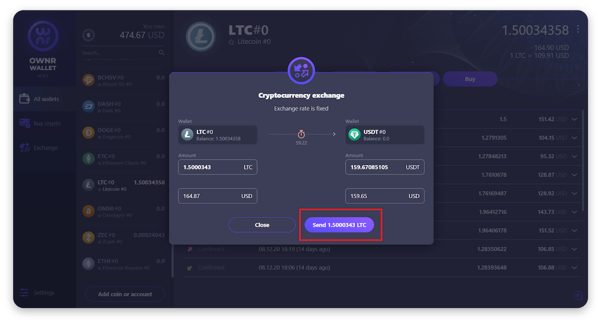 How to exchange currencies in OWNR Wallet